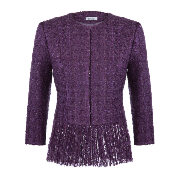 'Sophie' Ultra violet tweed jacket with fringe SAMPLE SALE