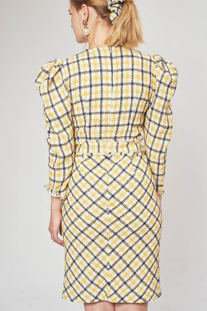 'Margaret' leg of mutton sleeve check tweed dress