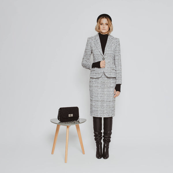 'Marissa' single-button black and white tweed blazer SAMPLE SALE