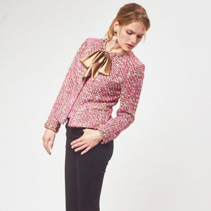'Melia' pussy bow tie neck tweed jacket