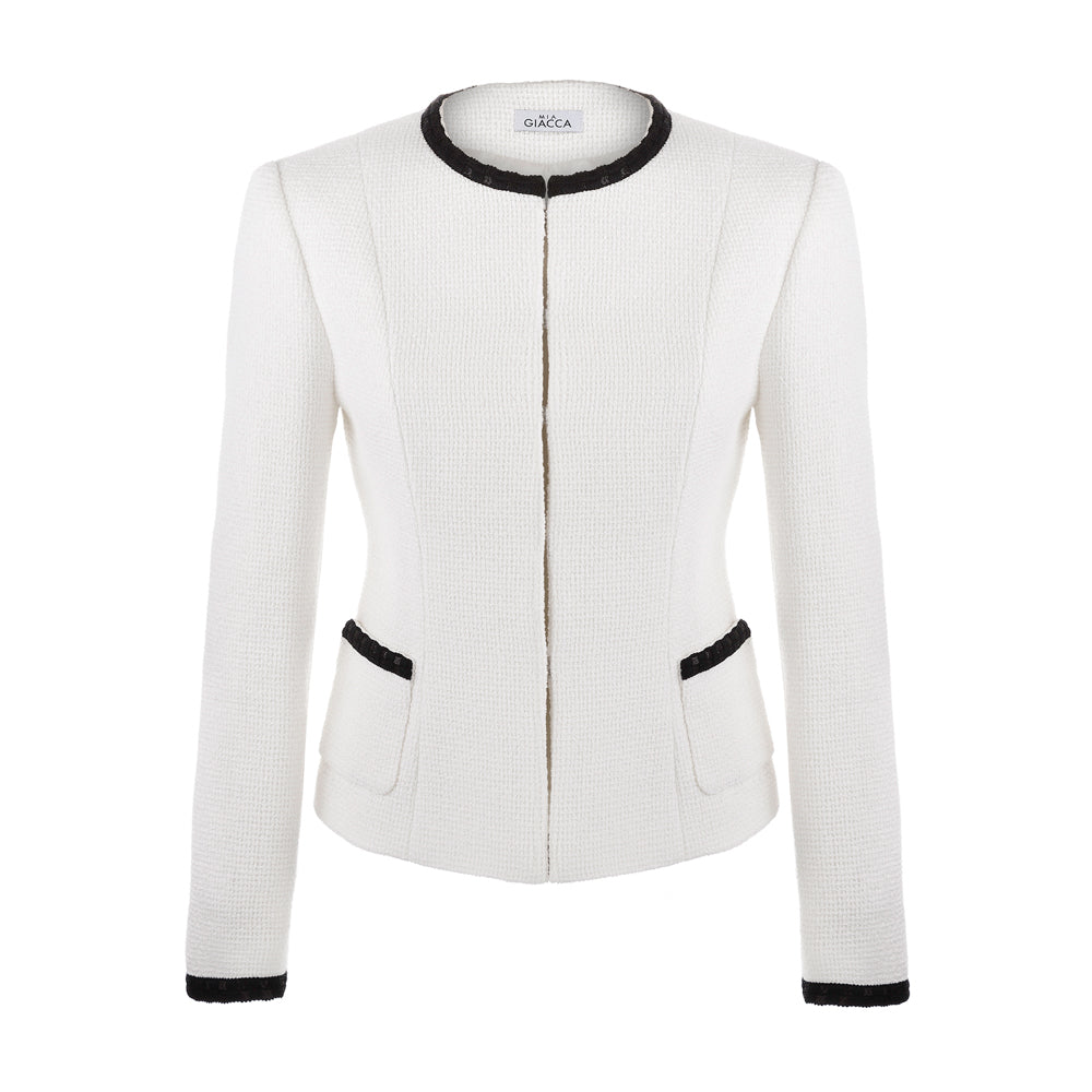'Bianco' white boucle jacket