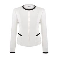 'Bianco' off white boucle jacket with black trim SAMPLE SALE