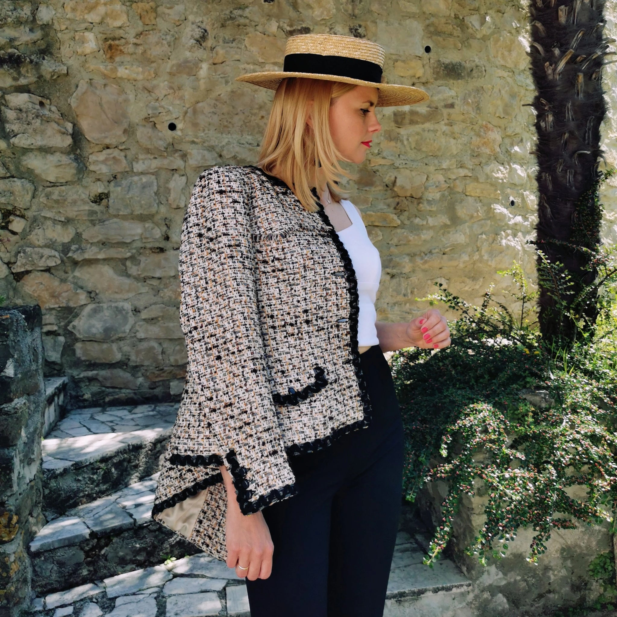 'Mira' beige and black buttoned tweed jacket