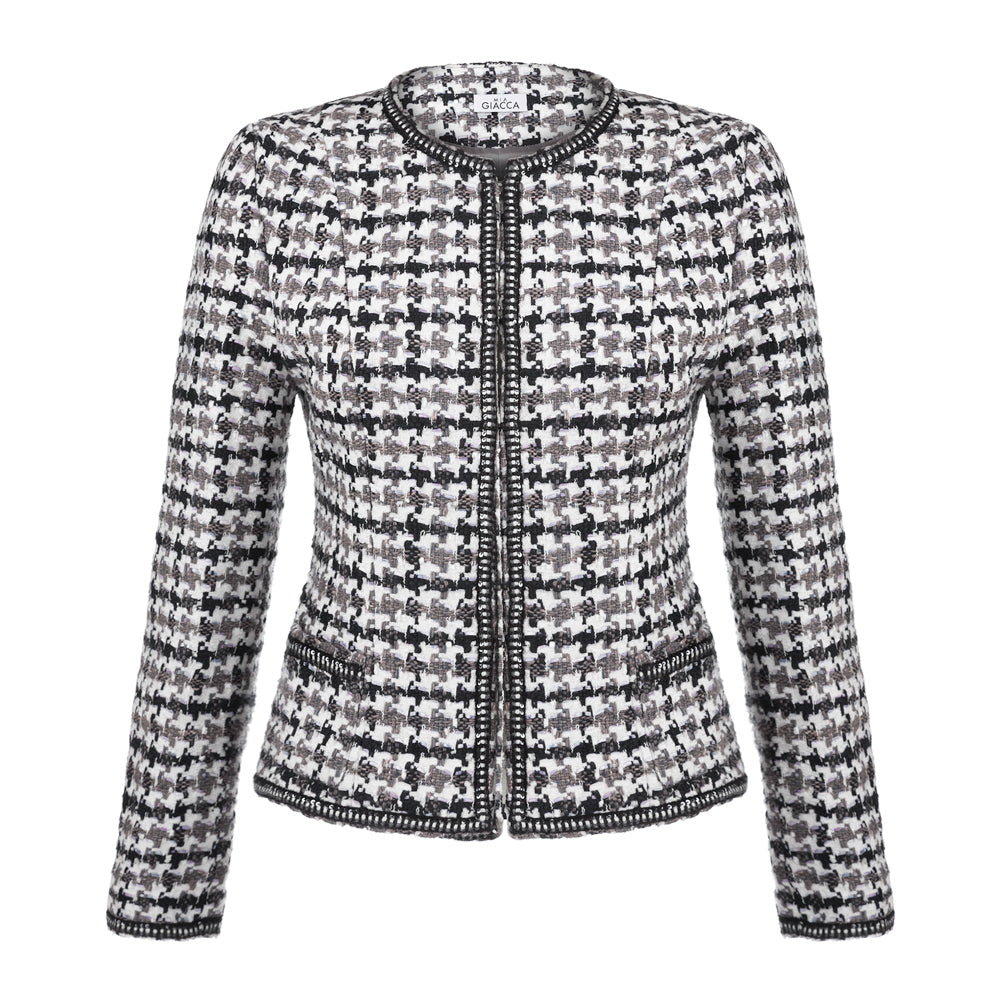 'Maria' houndstooth tweed jacket