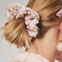 Tweed hair scrunchie with pearls