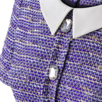 'Monica' blue tweed dress with a silk collar SAMPLE SALE