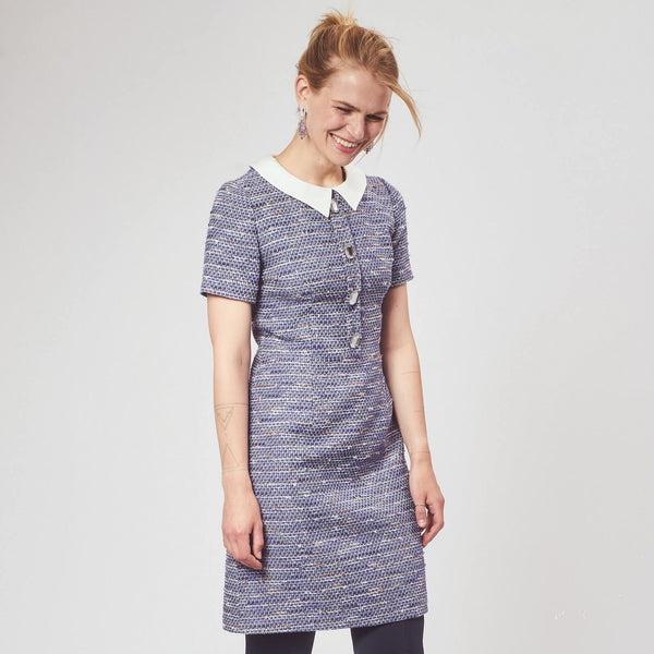 'Monica' blue tweed dress with a silk collar