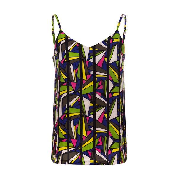 'Pola' geometric print top with adjustable straps