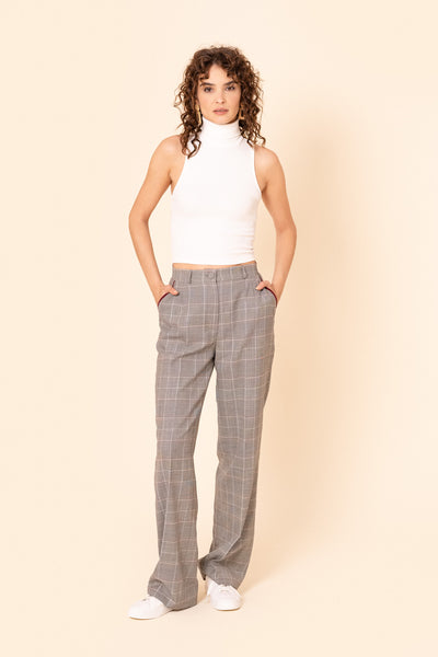 Prince of Wales-check wide wool pants