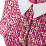 'Rachel' pink tweed dress with a silk collar