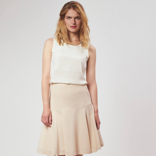 'Regina' wool-crepe drop-waist skirt