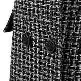 'The Madison' black and white double-breasted sleeveless tweed dress