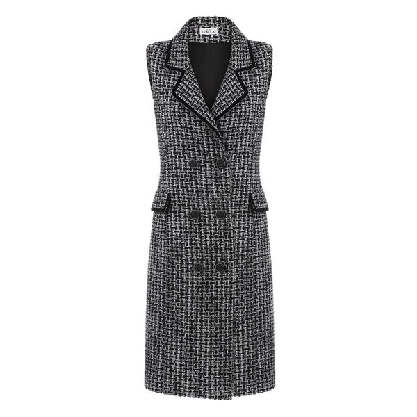 'The Madison' black and white double-breasted sleeveless tweed dress SAMPLE SALE