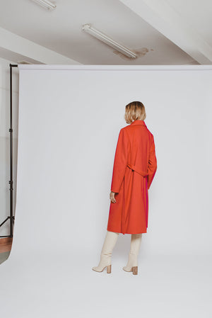 'Tilda' orange wool cashmere wrap-over belted coat