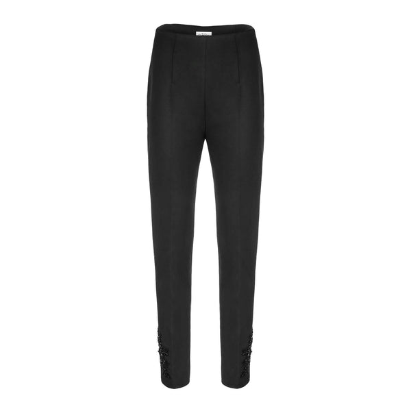 'Uma' high-rise black wool cigarette pants