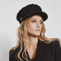 'Vanessa' metallic black tweed sailor cap