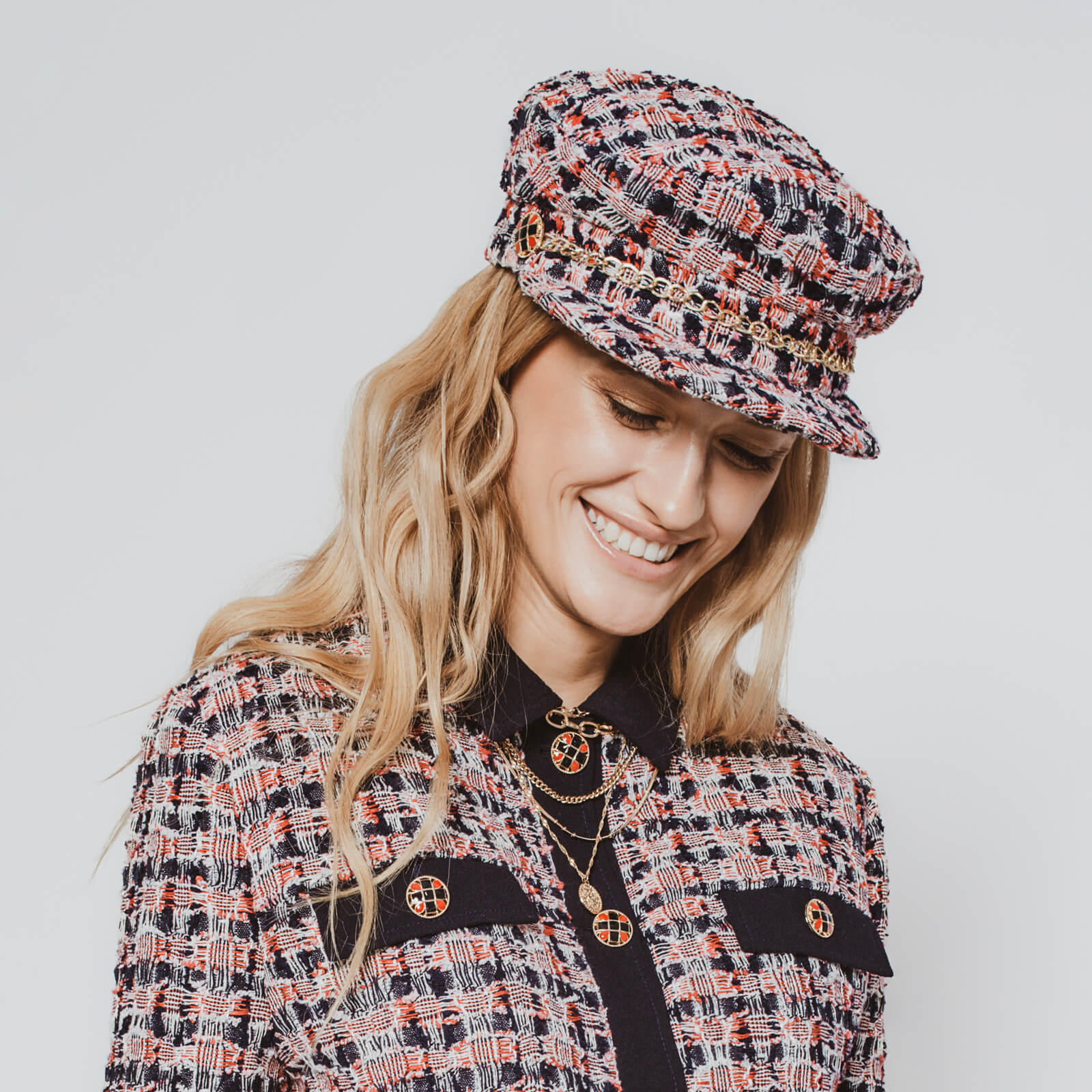 'Vanessa' navy and red tweed sailor cap