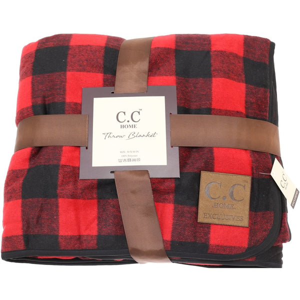 CC Buffalo Check Sherpa Lined Throw Blanket