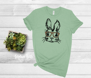 Rabbit With Leopard Glasses Graphic Tee