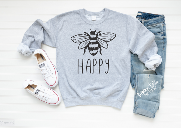 Bee Happy Graphic Sweatshirt