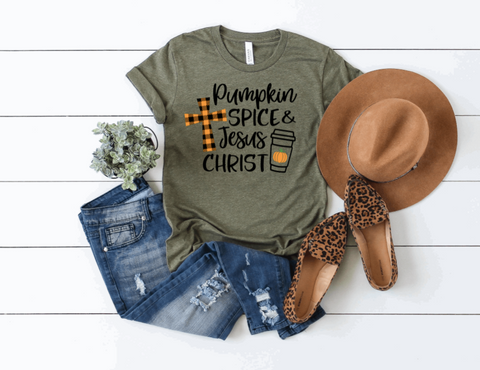 Pumpkin Spice and Jesus Christ Graphic Tee
