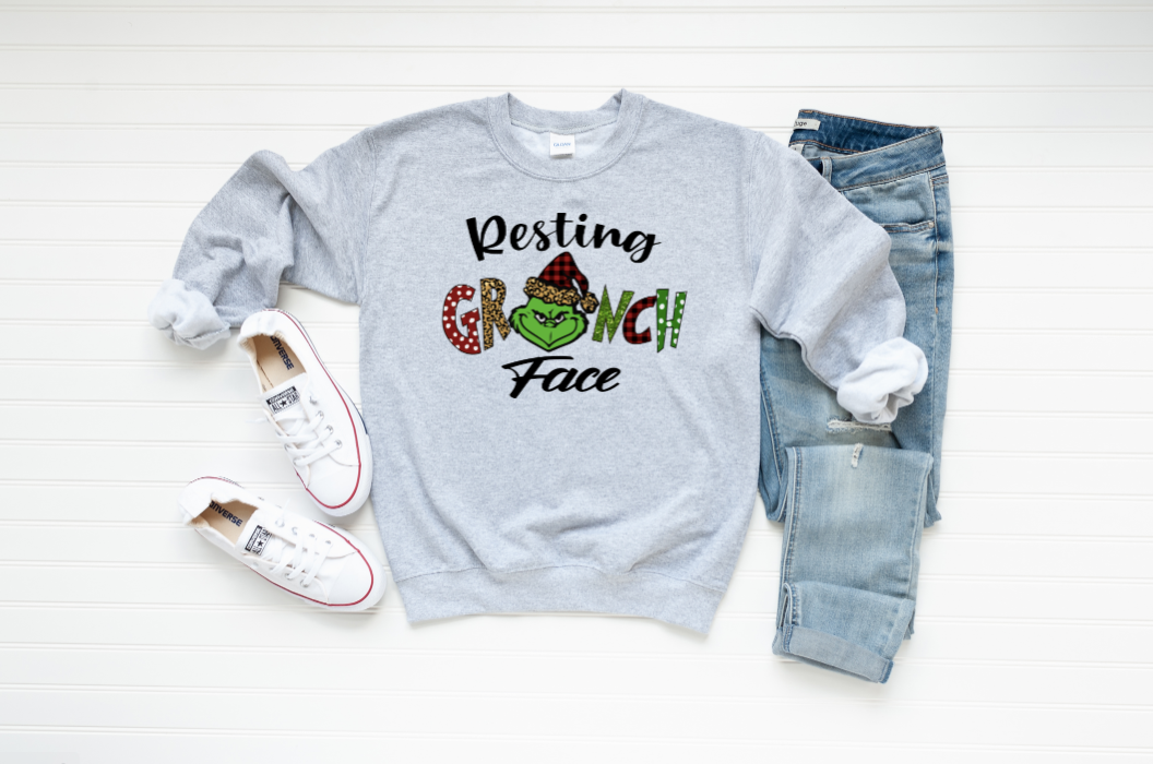 Resting Grinch Face Graphic Sweatshirt