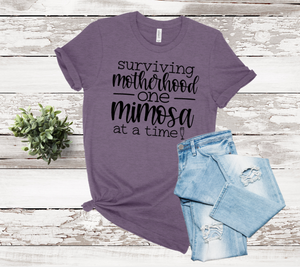 Surviving Motherhood One Mimosa At A Time Graphic Tee