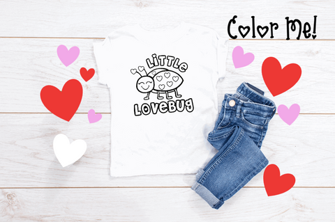 KIDS Color Me Valentines Day Graphic Tee