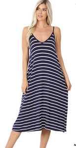 The Aimee- Navy Striped Midi Dress with Pockets