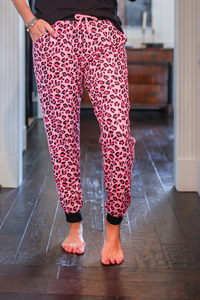 Pink Leopard Drawstring Everyday Joggers