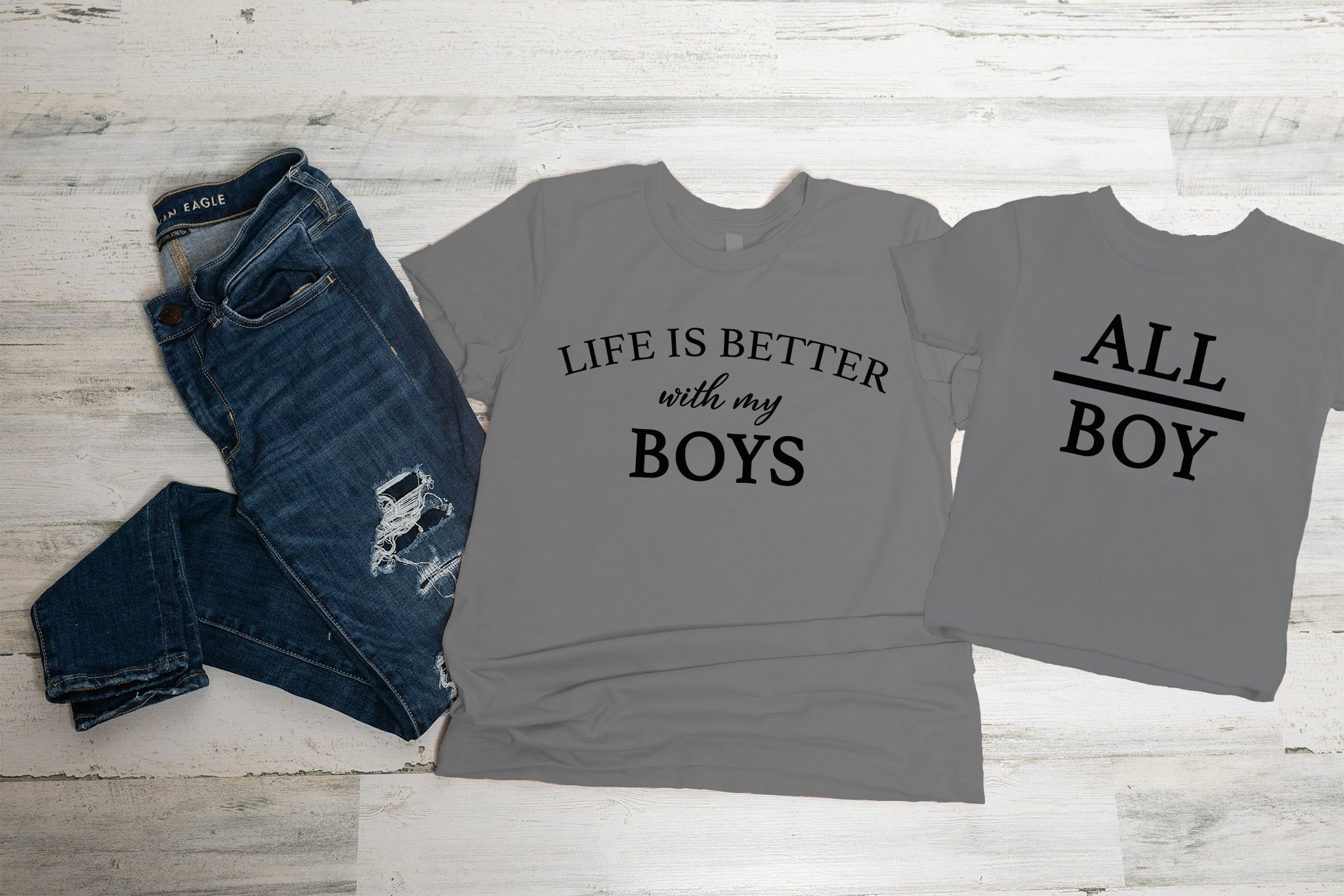 Mom of Boys Graphic Tee Set
