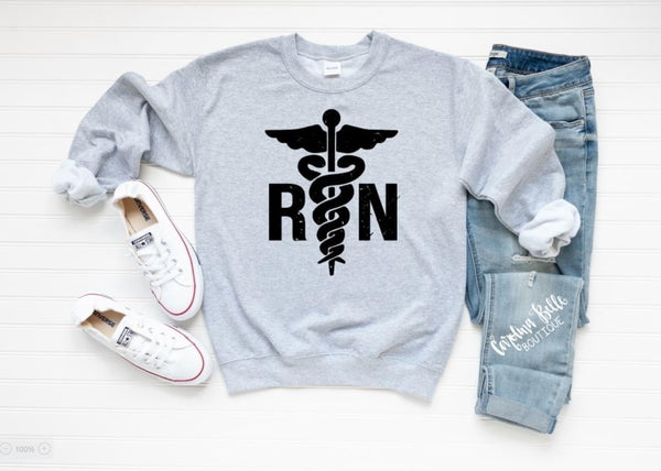Distressed RN Graphic Sweatshirt