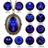 New 12 Constellation Astrology Oval Pocket Watch Unique Fluorescent Blue Zodiac Necklace Pendant Quartz