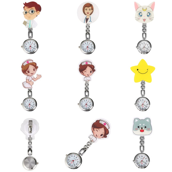 Lovely Cartoon Clip Pendant Pocket Watch for Nurse Doctor Clock Gifts Medical Clock Men Women