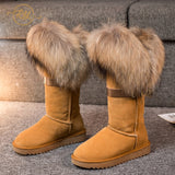 RY-RELAA Winter Women Genuine Leather Fashion Platform Boots Cowhide Fox Hair Knee High Boots