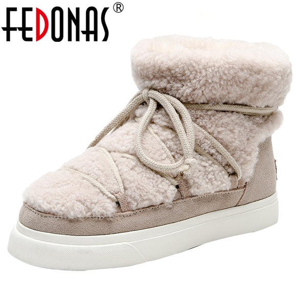 FEDONAS Sweet Women Wool Cow Suede Ankle Boots Female Big Size Snow Boots Dancing Casual Shoes Woman Newest Flats Platform Boots