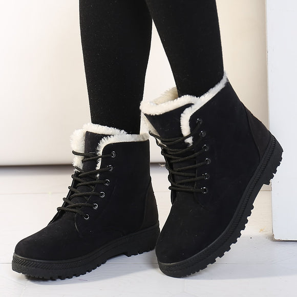 Women Warm Plush Insole Shoe Snow Ankle Boots Botas Mujer Plus Size 44