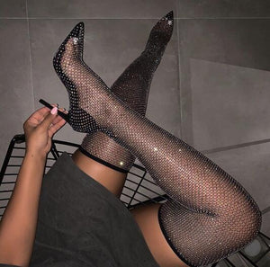 Women Black Bling Bling PVC Clear Sequins Diamond Fishnet Cut-Out Pointed Toe Heel-Strap Over The Knee Thigh Socks Boots