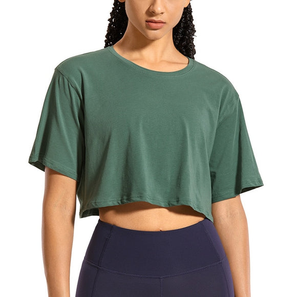 Women's Pima Cotton YOGA Crop Tops Short Sleeve Running T-Shirts Casual Athletic Tees