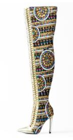 Cross Tied International Women Pink Palms Winter Shiny Sequined Cloth Over-the-Knee Thigh High Show Boots