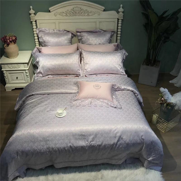 Deluxe European Court Style Delicate Lace 80S Pima Cotton Bedding Set Duvet Cover Bed Linen Bed Sheet Pillowcases 4/6/9pcs