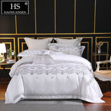 100% Pima Cotton White Embroidery Bedding Sets 650 Thread Count Density 4 Piece Duvet Cover Set Queen King Size Double Bed Set
