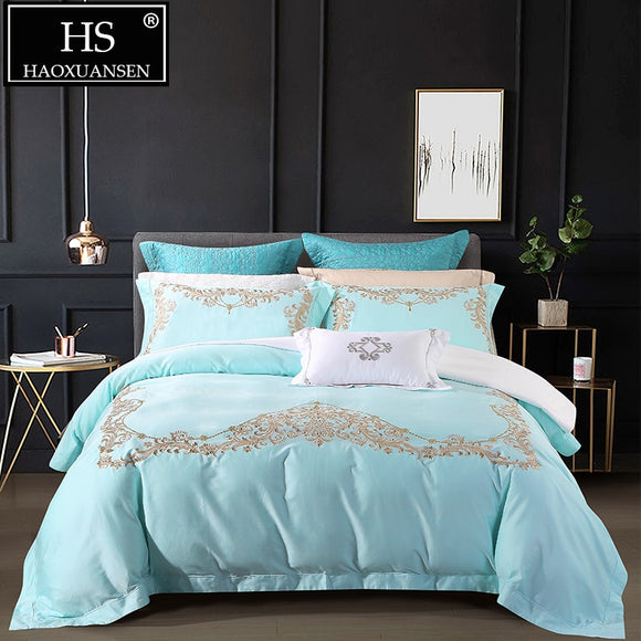 Luxury 650 Thread Count 100% Pima Cotton Blue Bedding Sets Classical Euro Floral Embroidery 4pcs Bed Linen Set Queen King Size