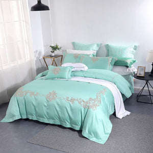 100% Natural Cotton Light Green 4pcs Bedding Sets European Floral Embroidery Quilt Cover Set Queen King Size Comfortable Durable