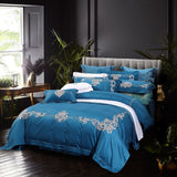 Luxury 4 Piece Blue Bedding Sets 100% Natural Cotton European Floral Embroidery Bed Sheet Set 650 Thread Count Queen King Size