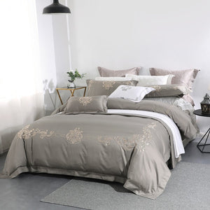 Grey European Style Bedding Sets 650 Thread Count Floral Embroidery 100% Cotton 4 Piece Bed Linens Queen King Size Double Sheets