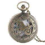 Vintage Zodiac Pattern Pocket Watch Modern Necklace Chain Copper Retro Style Twelve Constellation Men Women Clock Relogio Gift