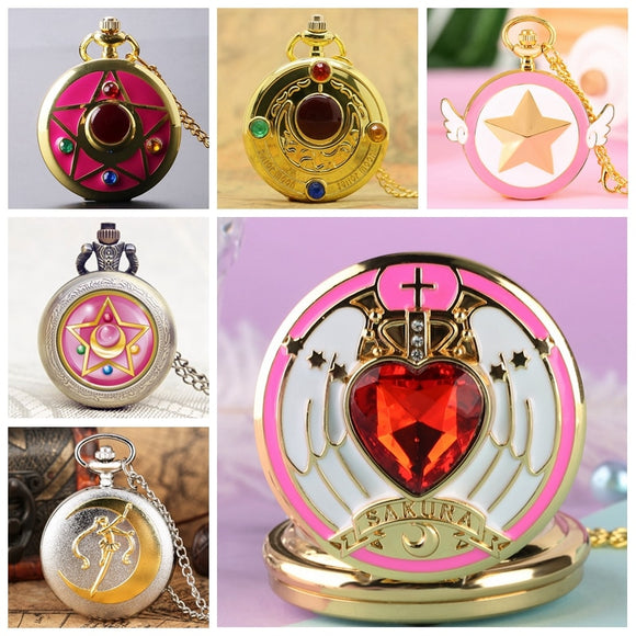 Japanese Anime Sailor Moon Quartz Pocket Watch Fashion Unique Necklace Pendant Chain Cosplay Gifts for Women Girls Lady