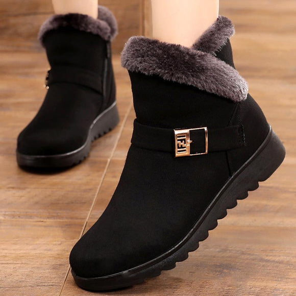 Casual Women Winter Solid Flat Plush Warm Snow Boots Zipper Platform Ankle