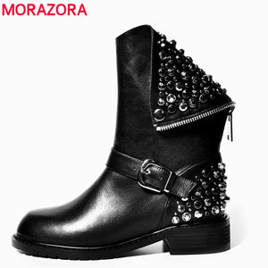 MORAZORA Plus Size 35-43 Genuine Leather Boots Women Rivets Autumn Winter Ankle Boots Punk Ladies Motorcycle Boots Shoes